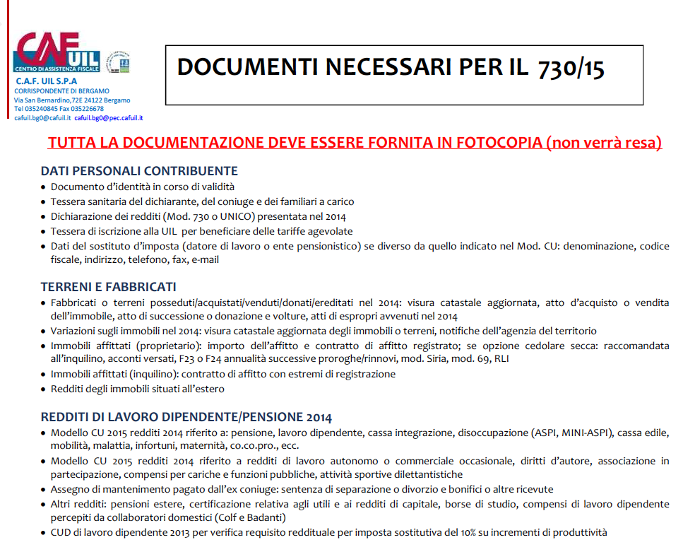 Al via la campagna fiscale del caf ecco i documenti for Documenti per 730